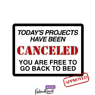 Today's projects have been canceled you are free to go ...