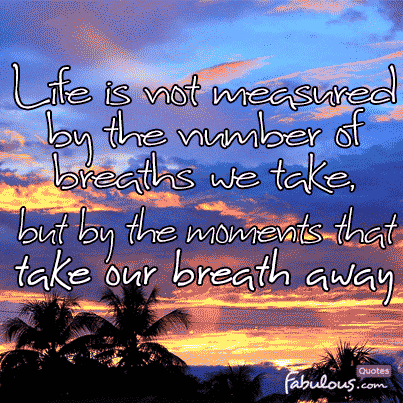 Life Is Not Measured By The Breaths Quote Magnificent Life Is Not Measuredthe Number Of Breaths We Take Butthe